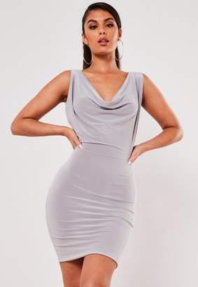 Missguided Lilac Slinky Drape Mini Dress