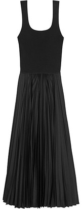 Theory Pleated Contrast Midi Dress