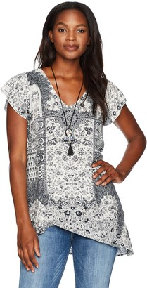 One World ONEWORLD Women's Short Sleeve Printed Top with Attached Necklace