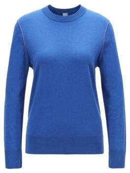 BOSS Regular-fit sweater in cotton blend with contrast linking