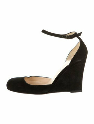 Christian Louboutin Suede Wedge Pumps Black