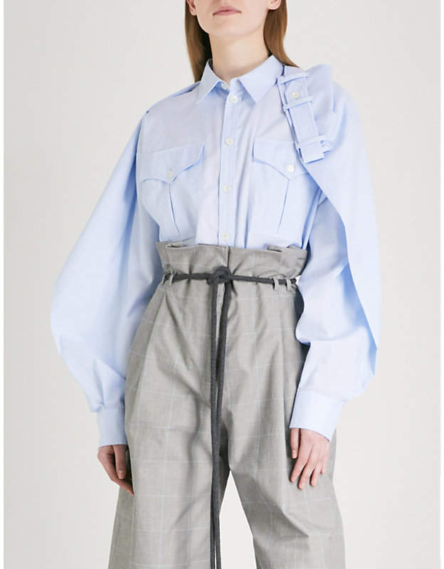 Y/Project Western draped cotton and linen-blend shirt