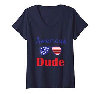 Womens 4th of july american dude pride rainbow charity Gift V-Neck T-Shirt