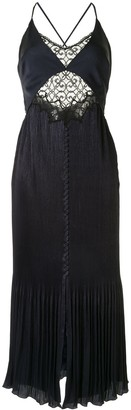 Jonathan Simkhai Pleated Lace Panel Shift Dress
