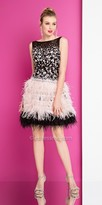 Terani Couture Plunging Back Feathered Fit and Flare Homecoming Dress