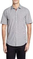 Bugatchi Men's Geometric Shaped Fit Short Shirt