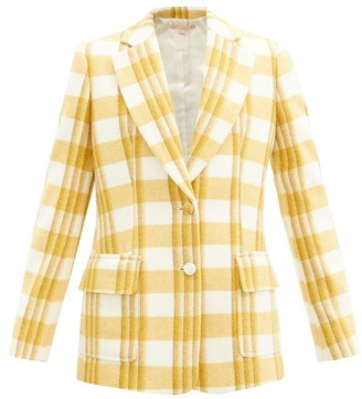 Brock Collection Single-breasted Checked Wool Jacket - Yellow Multi