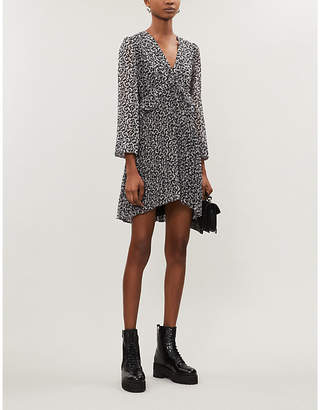 The Kooples Graphic-print bishop-sleeve chiffon mini dress