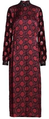 Dries Van Noten Geometric-Print Embellished-Cuff Midi Dress