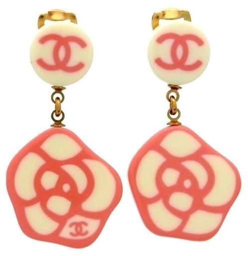 Chanel Camellia Gold Tone Metal & Plastic Earring