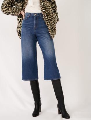 Maje Eco-wash denim Bermuda-style jeans