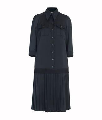 Diana Arno Sonia Pleated Shirt Dress In Black