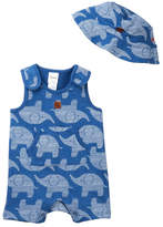 Boppy Baby Blue Elephant Print Shortall & Bucket Hat Set (Baby Boys)