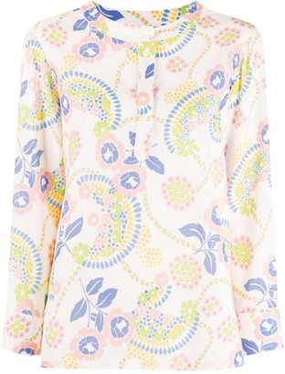 A.P.C. Floral-Print Long-Sleeved Blouse