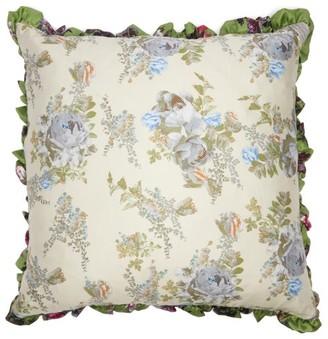 Preen by Thornton Bregazzi Ruffled Floral-print Satin Cushion - Green Print