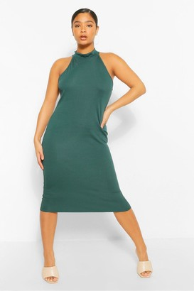 boohoo Plus Rib Halter Neck Midi Dress