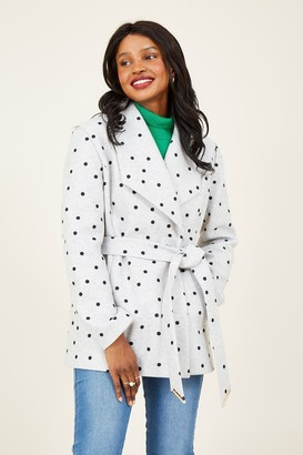 Yumi Grey Polka Dot Wrap Coat