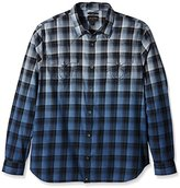 True Religion Men's Dip Dye Plaid Western Shirt