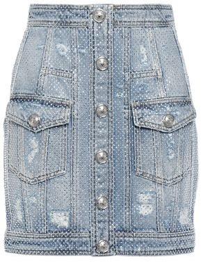 Balmain Button-detailed Crystal-embellished Distressed Denim Mini Skirt