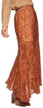 Oxford Sally Animal Print Skirt Brown