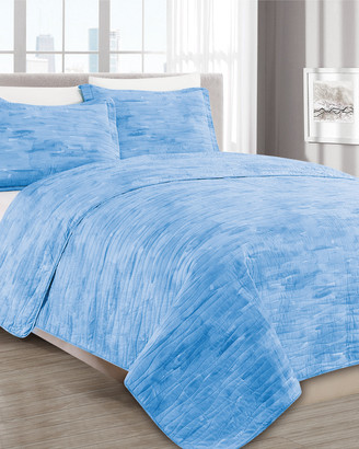 Melange Home Barbarian Sleepy Texture Quilt Set Blue