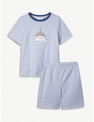 The Little White Company Shark-embellished striped cotton pyjamas 1-2 years