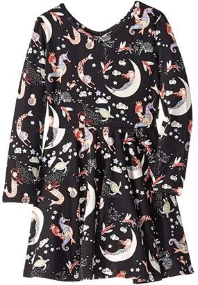 Rock Your Baby Mermaid Lullaby Long Sleeve Waisted Dress (Toddler/Little Kids/Big Kids) (Black) Girl's Dress