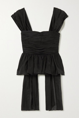 Brock Collection Draped Ruched Cotton And Silk-blend Peplum Top - Black