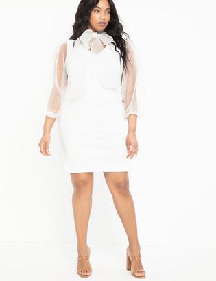 ELOQUII Organza Sleeve Tie Neck Dress