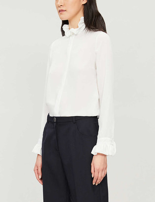 Claudie Pierlot High-neck frilled-trim crepe shirt