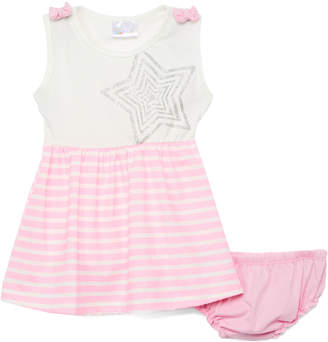 Sweet & Soft Girls' Casual Dresses Pink - Pink & White Stripe Star A-Line Dress & Bloomers - Infant