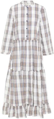 Baum und Pferdgarten Alexine Tiered Checked Organic Cotton-poplin Midi Dress