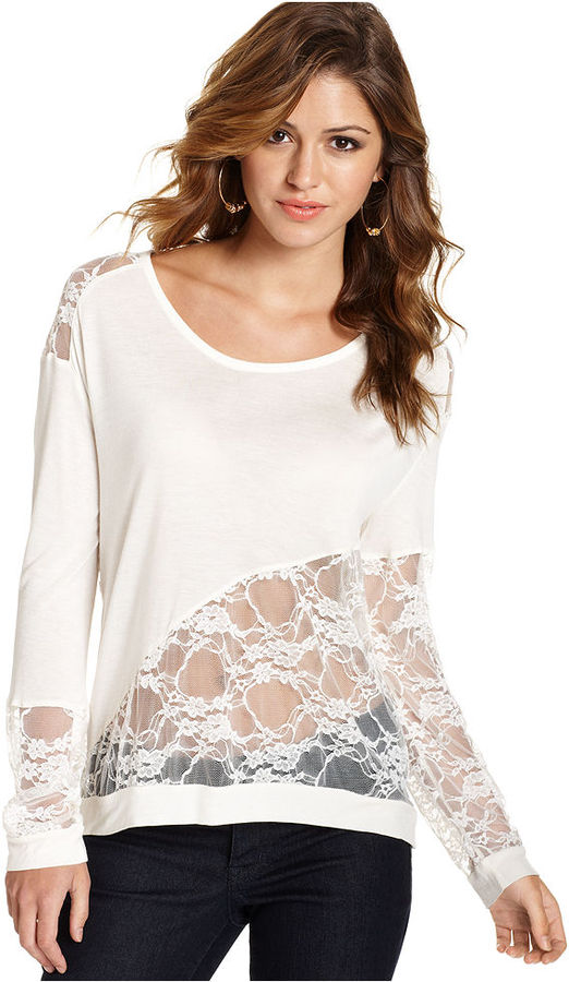 Jessica Simpson Juniors Top, Long Sleeve Lace-Inset