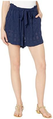 Polo Ralph Lauren Woven Plaid Tie Shorts Cover-Up (Dark Navy) Women's Shorts