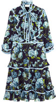 Gucci Ruffled Floral-print Silk Crepe De Chine Dress - Navy