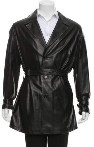 Kiton Leather Notched-Lapel Jacket