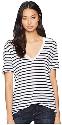 Splendid Everly Short Sleeve Striped Cotton Modal Slub V-Neck (Navy/Off-White) Women's Clothing