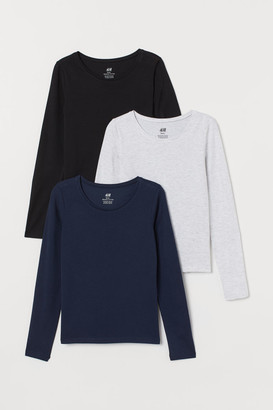 H&M 3-pack Jersey Tops - Blue