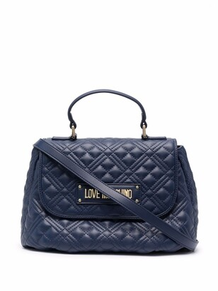 Love Moschino Logo Quilted Top-Handle Tote