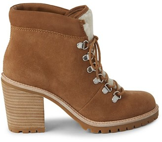 Dolce Vita Post Faux Shearling-Trim Suede Booties