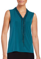 T Tahari Naveen Chain-Accented Knit Top