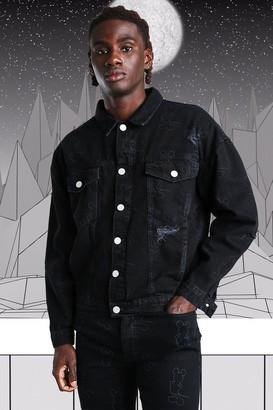 boohoo Mens Black Oversized Disney Mickey Printed Denim Jacket, Black