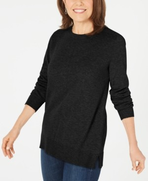 Karen Scott Plush Front-Seam Sweater, Created for Macy's