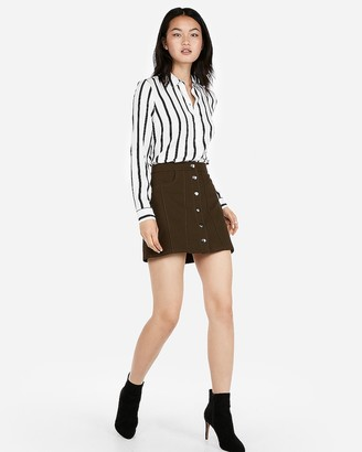 Express Snap Front A-Line Mini Skirt