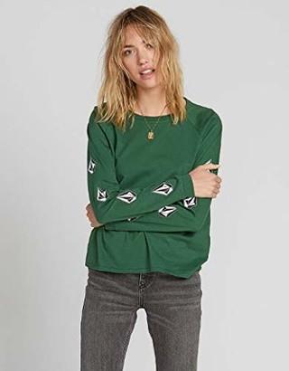 Volcom Junior's Women's Deadly Stones Long Sleeve Shirt - Green - Medium