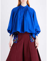 DELPOZO Pleated cotton-poplin shirt