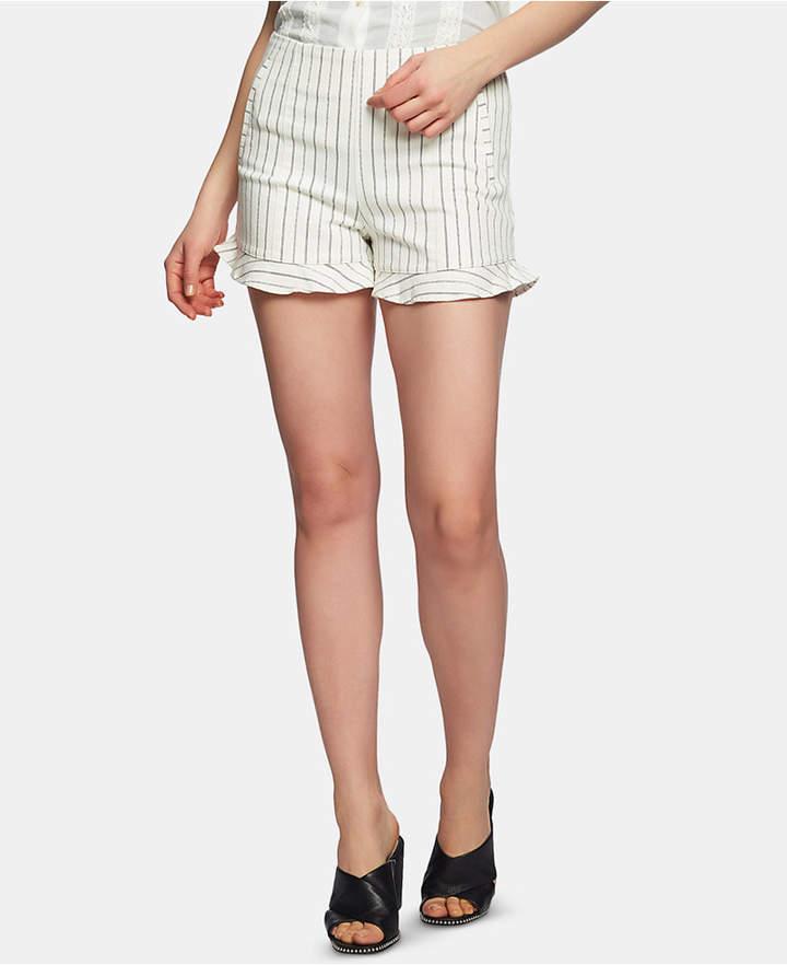 1.state Flat-Front Ruffle-Hem Striped Shorts