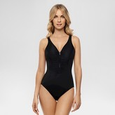Dreamsuit by Miracle Brands Women's Slimming Control Zip Front One Piece Swimsuit Black - Dreamsuit