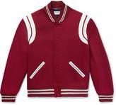 Saint Laurent Leather-Trimmed Virgin Wool-Blend Bomber Jacket