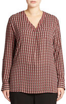 Lord & Taylor Plus Patterned Blouse